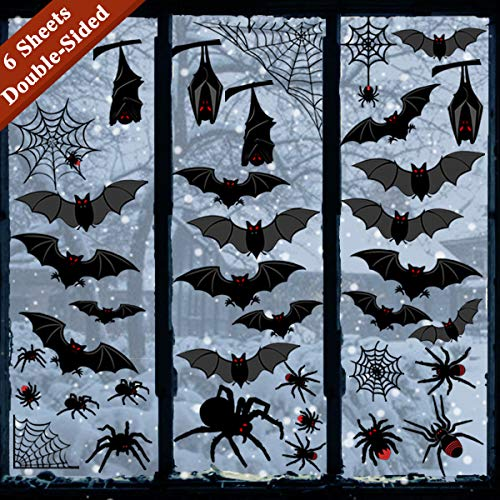 Halloween Skeleton Silhouette (Ivenf Halloween Decorations Window Clings Decor, Large Scary Silhouette Bats Spider Kids School Home Office Accessories Party Supplies Gifts, 6 Sheet)