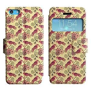 Be-Star Diseño Impreso Colorido Slim Casa Carcasa Funda Case PU Cuero - Stand Function para Apple iPhone 5c ( Birds And Flowers )
