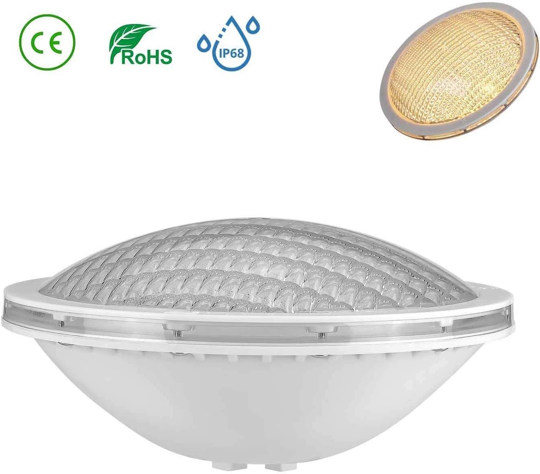 LyLmLe LED Piscina PAR56,18W Foco Piscina de LED Sumergible Iluminación LED Empotrados,Impermeable IP68,12V DC/AC,3000K Blanco Cálido