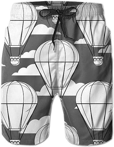 SARA NELL Mens Swim Trunks Grey Hot Air Balloon Black and Grey Surfing Beach Board Shorts Swimwear