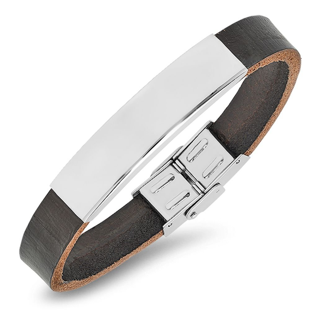 Free Engraving - Stainless Steel with Genuine Leather Id Bracelet