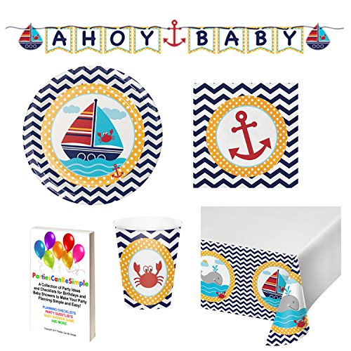 Nautical Baby Shower Supplies Decorations Set Including: Plates Cups Napkins Banner and Table Cover for 16 Guests by Parties Can Be Simple ()