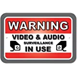"""Plastic Sign Warning Video And Audio Surveillance In Use - 6"""" x 9"""" (15.3cm x 22.9cm)"""