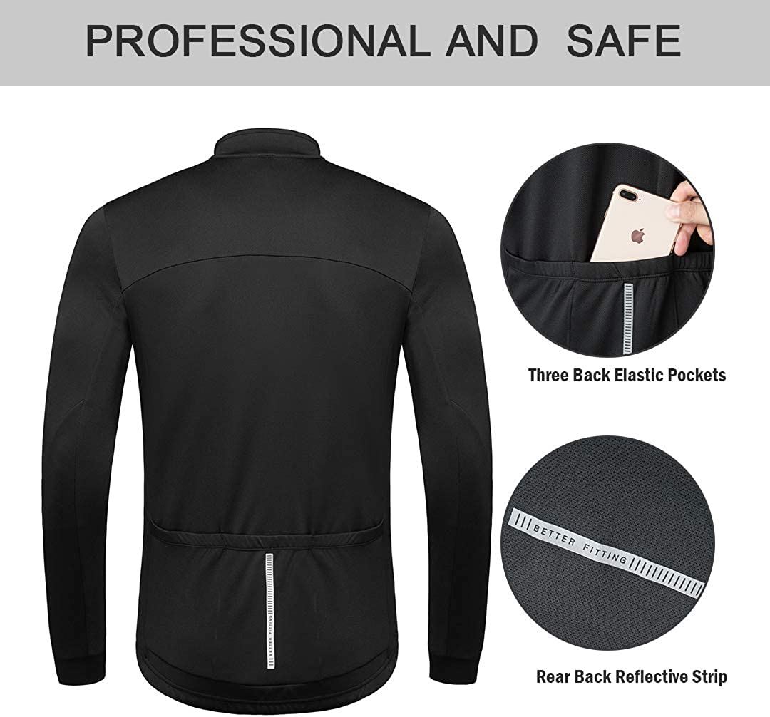 Przewalski Mens Cycling Bike Jersey Winter Thermal Long Sleeve Running Jacket with Full Zipper Classic Series