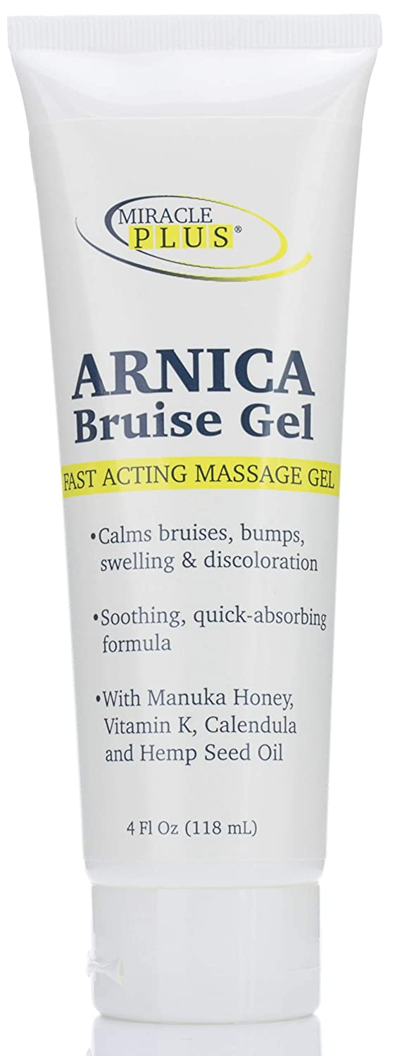 Miracle Plus Arnica Bruise Cream for bruising, swelling, discoloration. (4oz, Gel)