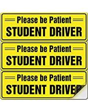 """Student Driver Sticker Sign for Car - Essential Signs for New Drivers - 3 Pack, 10"""" by 4"""" - Bright Yellow and SEE-THROUGH when Reversing - Best Safety Stickers for Learners - No Need for Magnets Which Can Damage Paint - Durable and Strong Adhesive"""