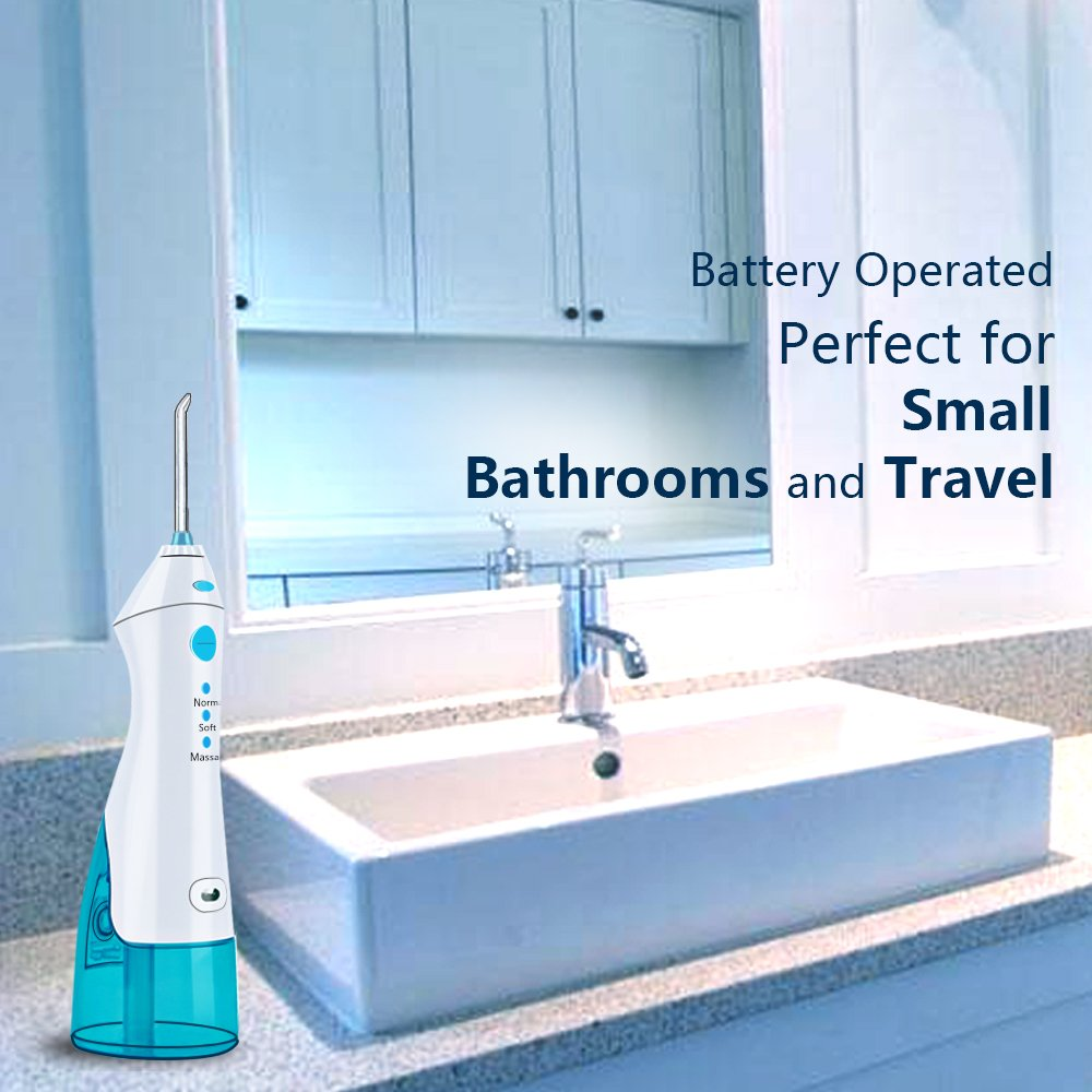 QQcute Water Flosser Cordless Oral Irrigator - IPX7 Portable Rechargeable Tooth Cleaner Whitening With 3 Modes Dental Water Jet Tips, Travel and Home Use by QQcute (Image #4)