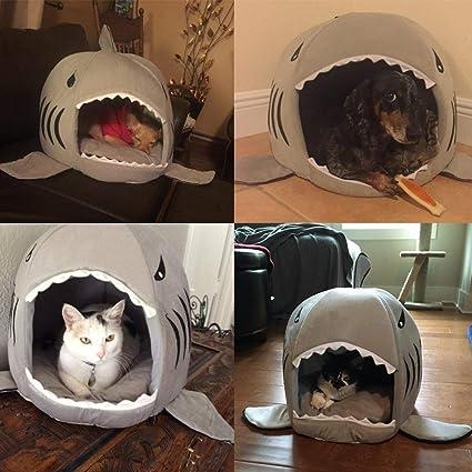 smartlife Shark Pet House Lavado Bar Perros Cueva Cama extraíble Cojín Agua Densidad Parte Inferior pequeño