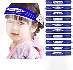 Kids Protective Face Covering with Clear Vision, Adjustable, Lightweight and Anti-Fog For Children Eye Protection (Blue-10Pcs)