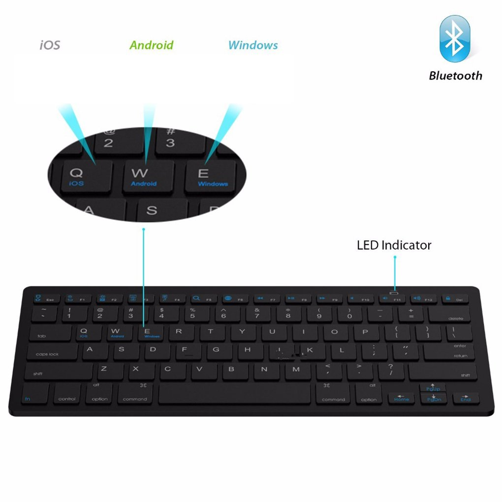 Car Electronics & Accessories EgalBest 6.7mm Ultra-Slim Wireless Keyboard Bluetooth 3.0 Keyboard 78 Keys for iPad for iPhone for Huawei Black Car Electronics Accessories