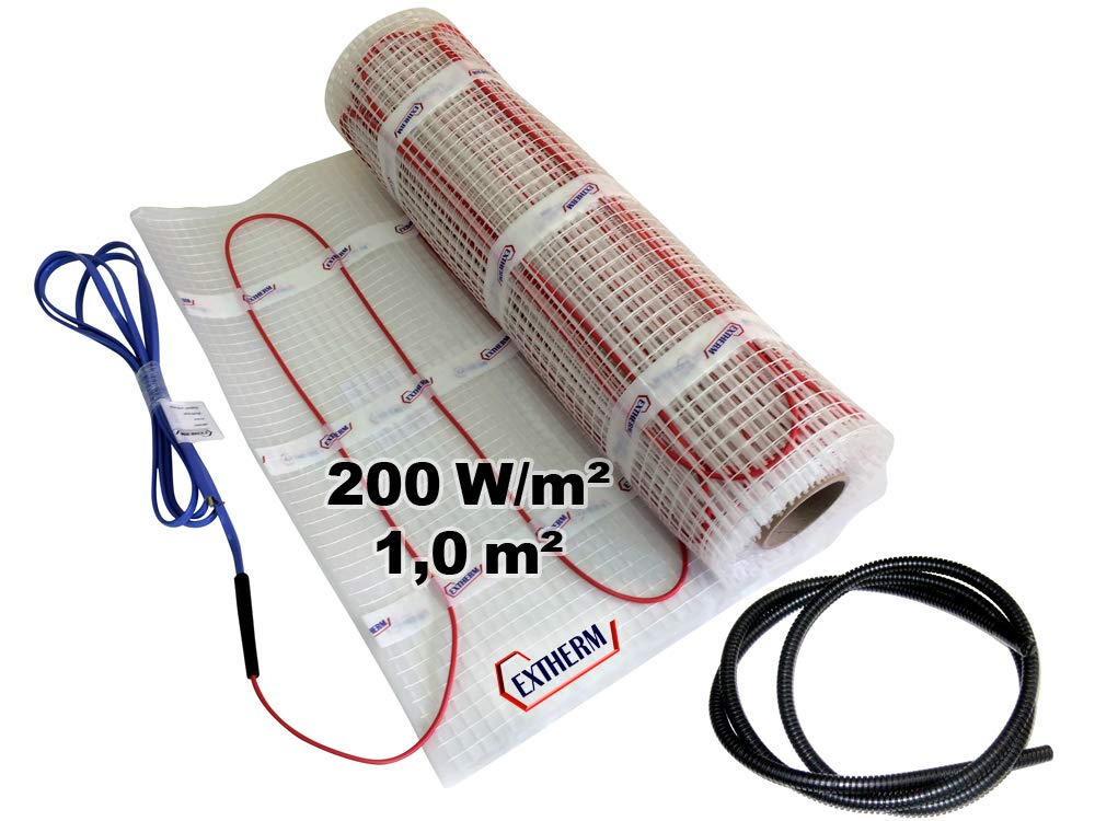 EXTHERM TWIN Heizkabel-Matte F/ür Elektrische Fu/ßboden-Heizung 3,5m/² - Installation 200W//m2 Komfortable W/ärme In All Ihren R/äumen Erneuerbare Energiel/ösung 3,5m/²