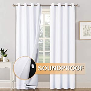 RYB HOME 3-in-1 Noise - Blackout - Thermal Insulation Window Curtains, Inside Detachable Felt Liner for Noise-Reduce/Sunlight Block for Daytime Sleep/Bedroom, White, Wide 52 x Long 84 in, One Pair