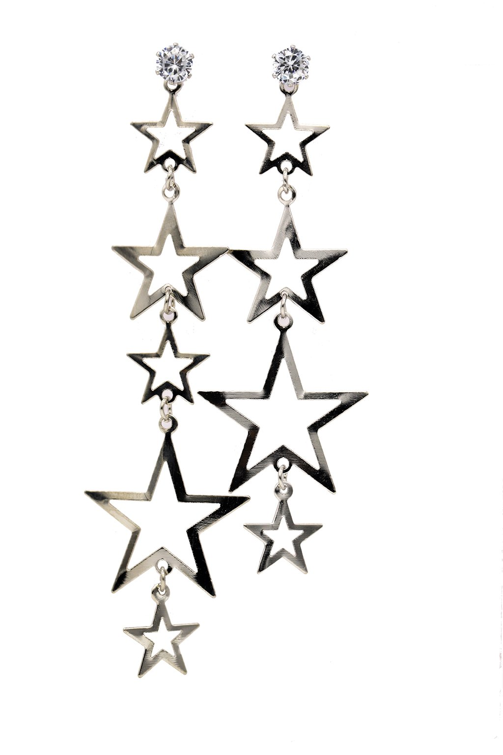 Hollow Out Stainless Steel Diamond Mounted Asymmetry Star Drop Earring (Silver)