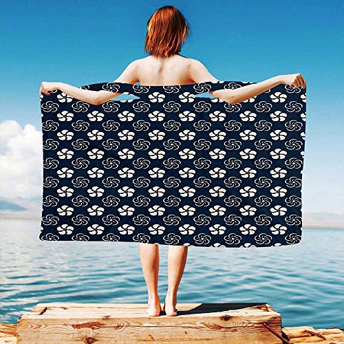 iPrint Geometric Quick Dry Plush Microfiber (Towel+Square scarf+Bath towel) Monochrome-Floral-Arrangement-Pinwheel-Inspired-Design-Abstract-Natural And Adapt to any ()