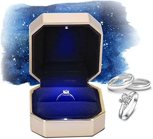 yuyte Caja de Regalo de Almacenamiento de Joyas con LED, Estuche de exhibición de joyería, para Anillo y Pendiente y Colgante(1): Amazon.es: Hogar