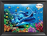 Dolphins Framed 3D Lenticular Picture - Unbelievable Life Like 3D Art Pictures, Lenticular Posters, Cool Art Deco, Unique Wall Art Decor, With Dozens to Choose From!