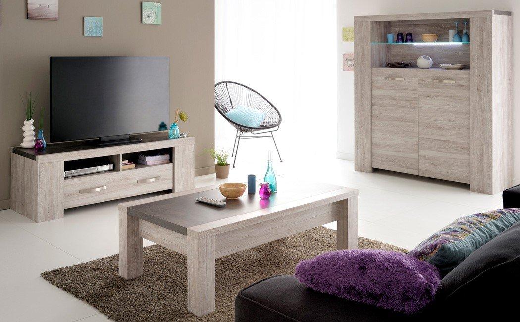 Wohnzimmer Marten 41 Grau Steinoptik Tisch Lowboard Couchtisch Highboard TV-Möbel