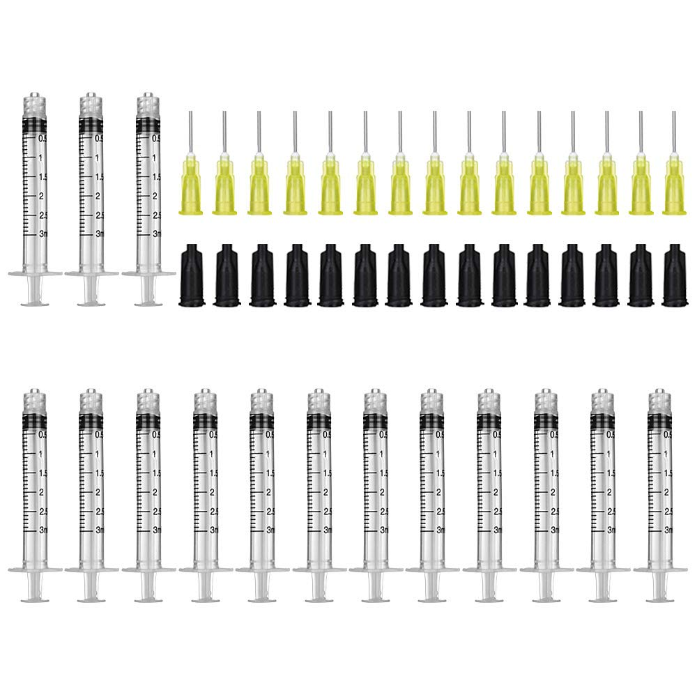 NOBU 15 Pack-3ml/cc Syringes Set, 20 Ga Blunt Tip Needle with Storage Caps, Luer Lock Plastic Glue Applicator, Industrial Grade Syringe, Great for Refilling and Measuring Oil Dispensing
