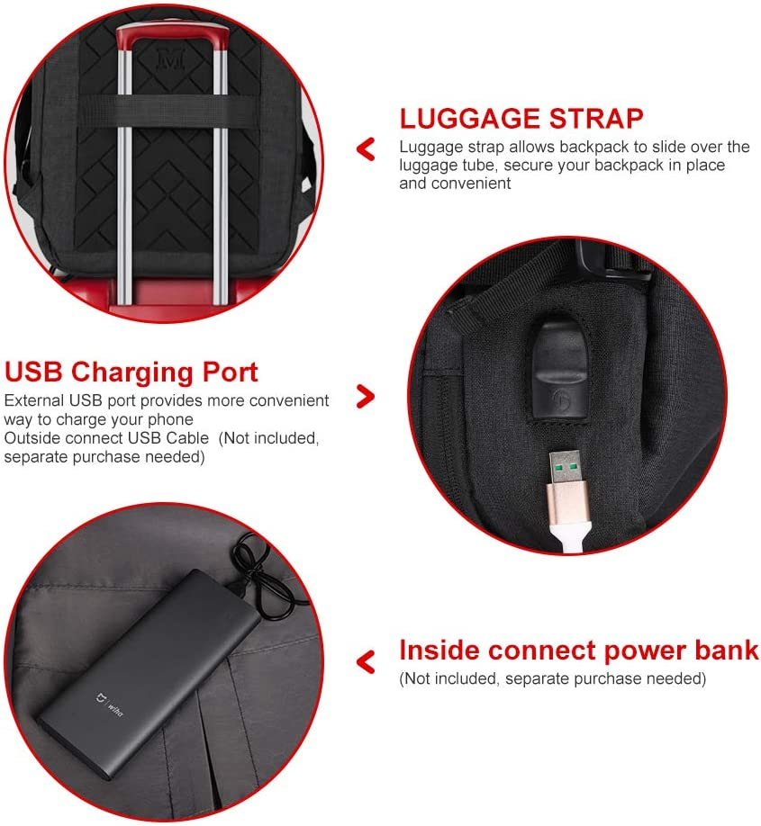 Laptop Backpack,Beibeiqiqi Lightweight Business Backpack with USB Charging Port,Water Resistant College School Computer Bag Fits 15.6 Inch Laptop Men/&Women Black