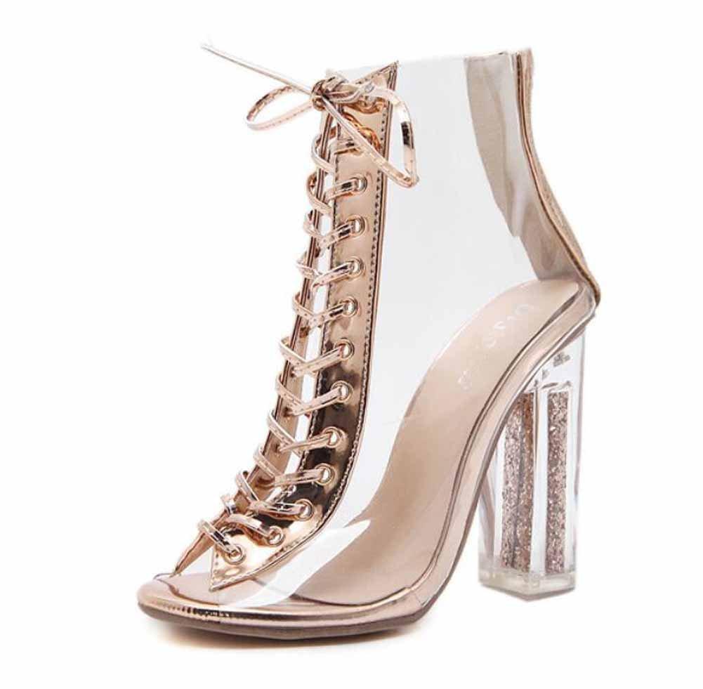 Femmes Peep Toe Des Sandales Printemps Nouveau Mode Transparent Strap Cristal Haut Talon Cool Bottes Creux Charme Chaussures SHINIK