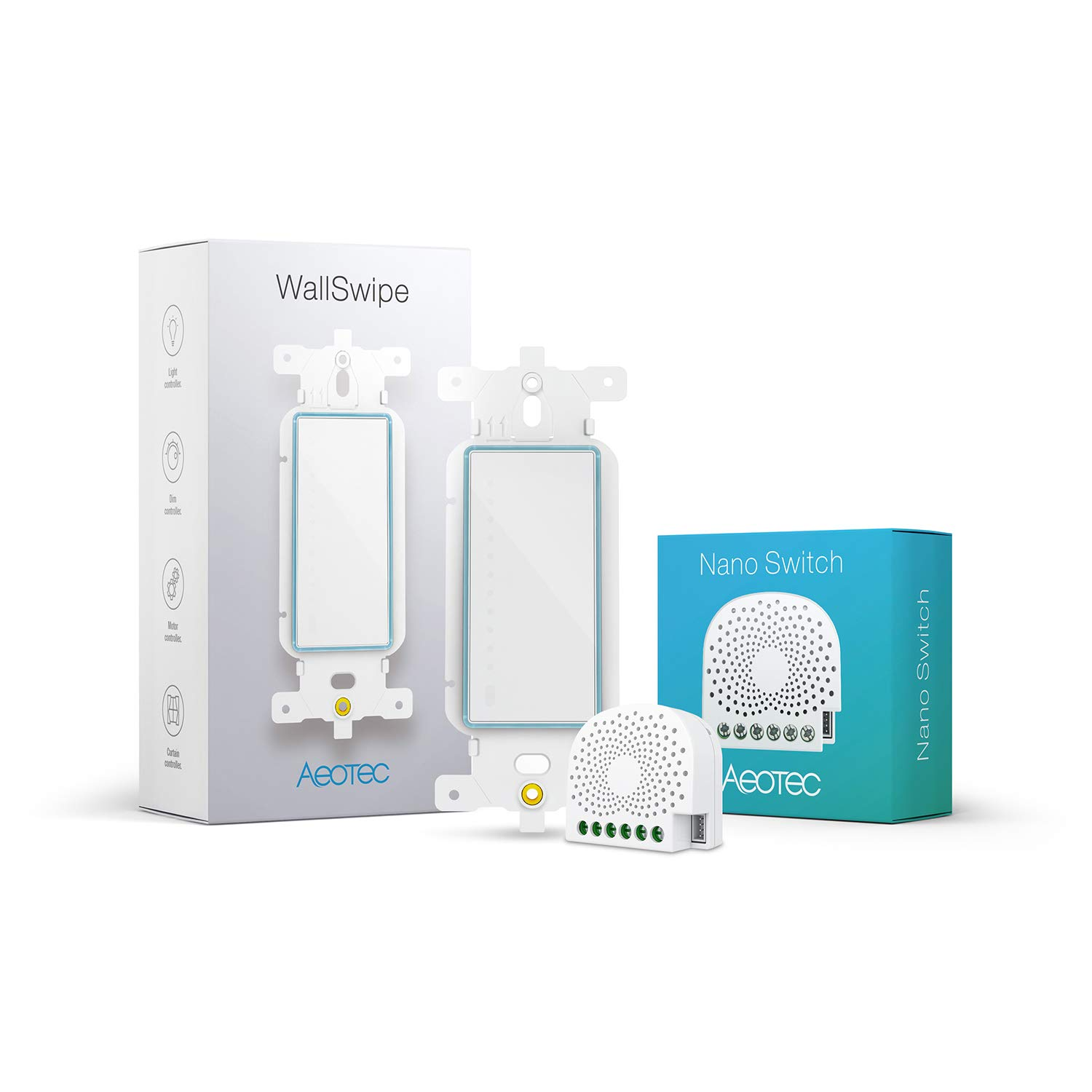 Aeotec Smart in-Wall Switch kit, Nano Switch & WallSwipe, Z-Wave Plus in-Wall Zwave Switch with Wall Panel Controller