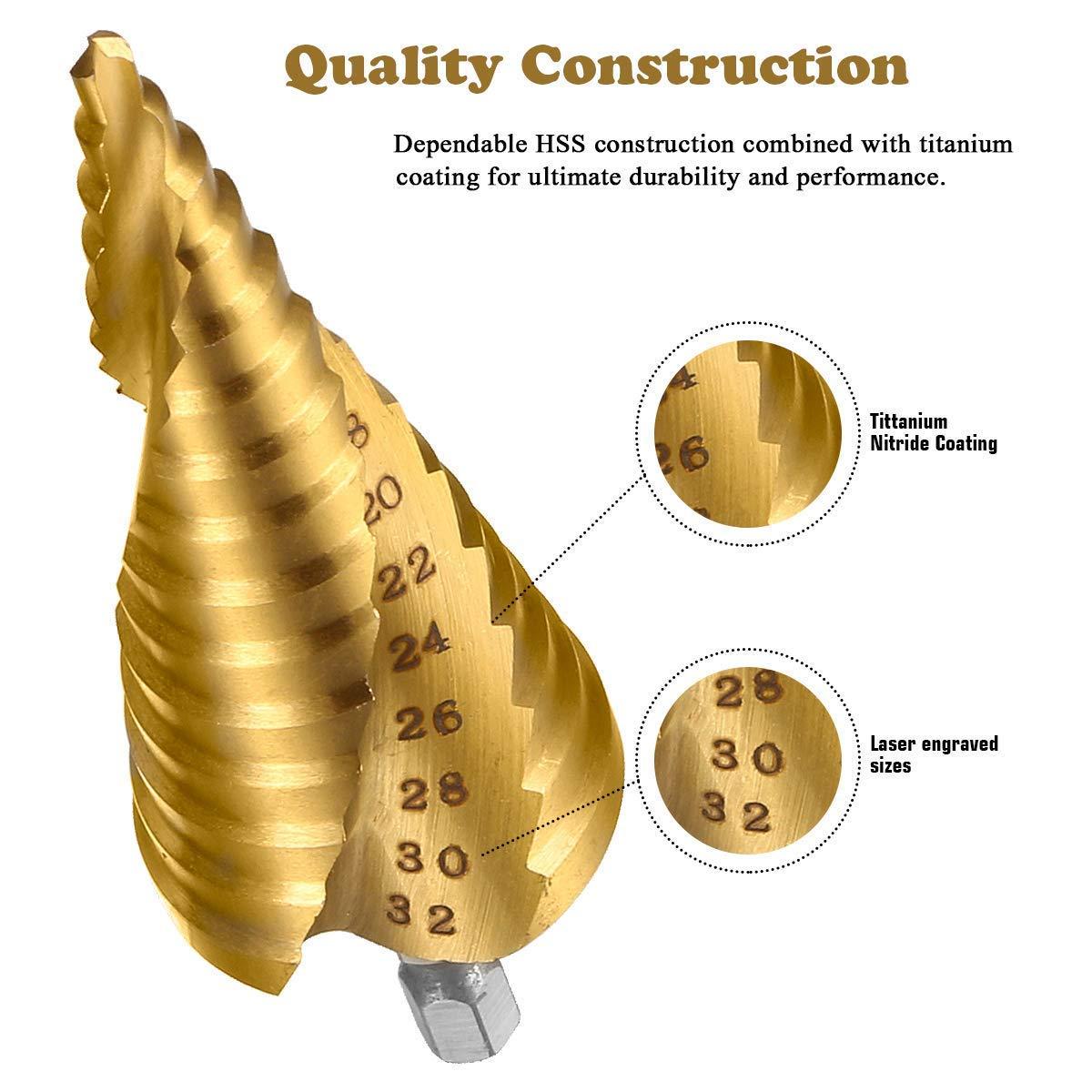 HSS Stufenbohrer Set,Gocheer 3 stück Stufenbohrer Schälbohrer Kegelbohrer Set,Spiral Gerillt,mit Tasche(4-12mm /4-20mm /4-32mm),für Edelstahl,Metall,Holz,Kunststoff,Aluminium, Kupfer,DIY usw (Golden)
