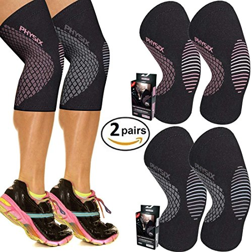 Physix Gear Sport Knee Support Brace - Premium Recovery & Compression Sleeve for Meniscus Tear, ACL, Running & Arthritis - Best Neoprene Wrap for Crossfit, Squats & Heavy Duty Workouts (2 Pairs L)