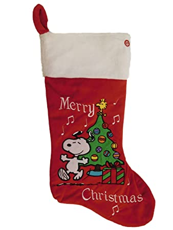 peanuts musical snoopy dog christmas holiday stocking - Snoopy Christmas Stocking