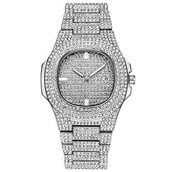 KUNDG Reloj De Hombrerelojes para Hombre Reloj Automático con Fecha De Diamante para Hombres Relojes para Hombre De Acero Inoxidable, Acero Inoxidable, ...
