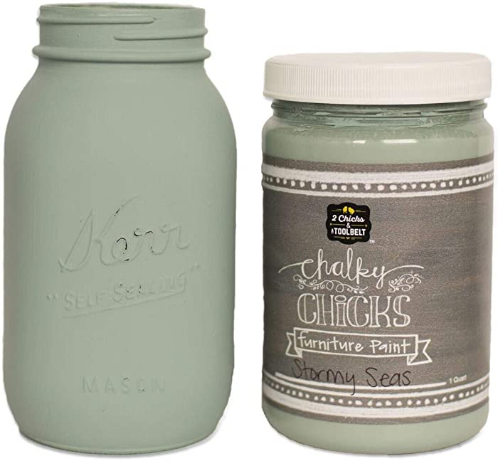 Chalky Chicks | Chalk Finish Paint | Perfect for Furniture, Cabinets, Home Decor, & DIY Craft Projects | 32 oz | Stormy Seas