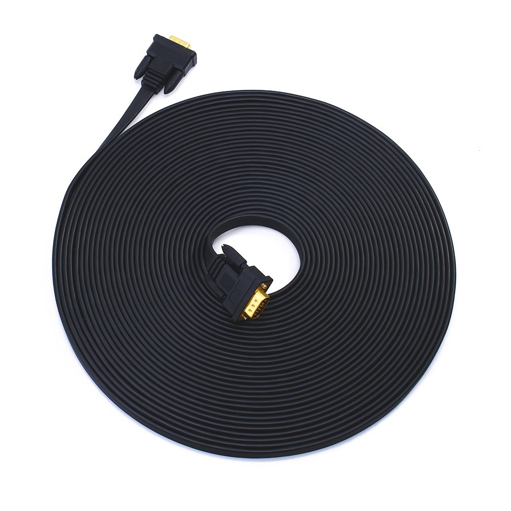 DTECH Slim Flat 100 Feet VGA Cable Male to Male 15 Pin Computer Monitor Cord 1080p High Resolution -Black - 30m by DTECH