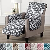 Modern Printed Reversible Stain Resistant Furniture Protector with Geometric Design. Perfect Cover for Pets and Kids. Adjustable Elastic Straps Included. Liliana Collection (Recliner, Steel Grey)