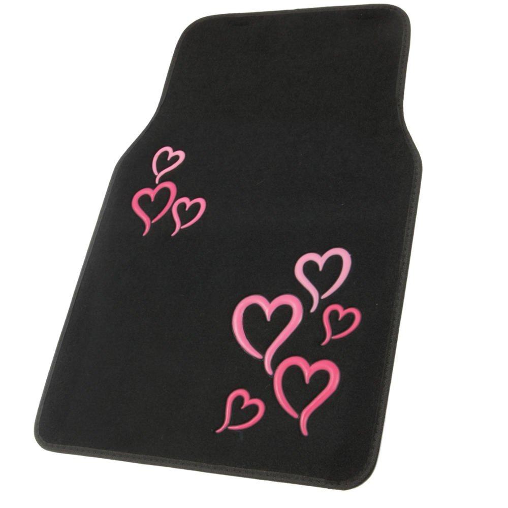4 Piece Set Licensed Prodcuts BDK Love Heart Design Carpet Floor Mats for Car SUV Secure Backing