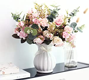 YILIYAJIA Artificial Rose Bouquets with Ceramics Vase Fake Silk Rose Flowers Decoration for Table Home Office Wedding (Light Pink)