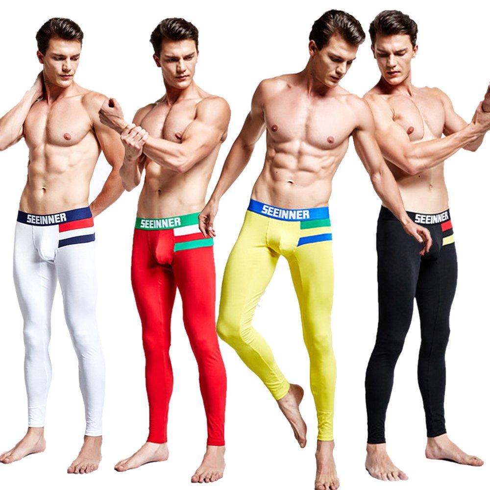 Ykeke 4Pcs//lot Mens Warm Long Johns Underwear Trouser Pants Fit Pants Basic Underpants Pack