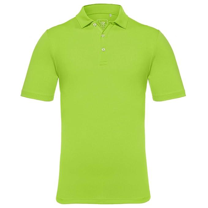 f6aa53eba65 EAGEGOF Men s Regular Fit Golf Polo Shirt Short Sleeve Stretch Quick Dry  Performance Polo(Green