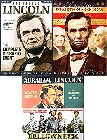 AMERICA: The Birth of Freedom History Documentary - Civil War / Events / People / Landmarks + Yellowneck & Abraham Lincoln Biography + Sanberg's Lincoln Mini-Series 5 DVD Set (Daniel Day Lewis Lincoln)