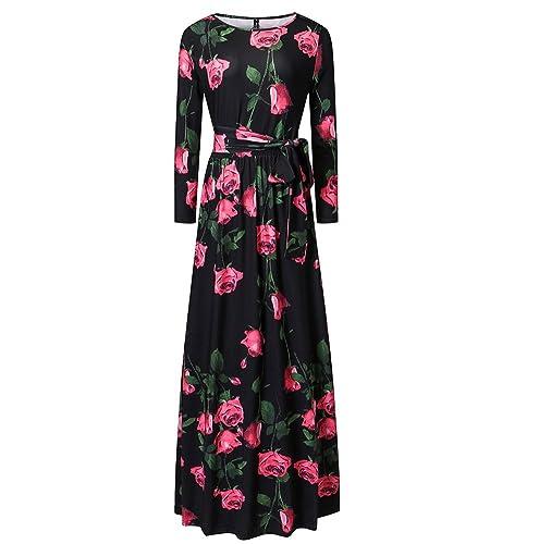 Engood Womens Elegant O-neck Floral Printed Full Sleeves Maxi Long Vintage Dress