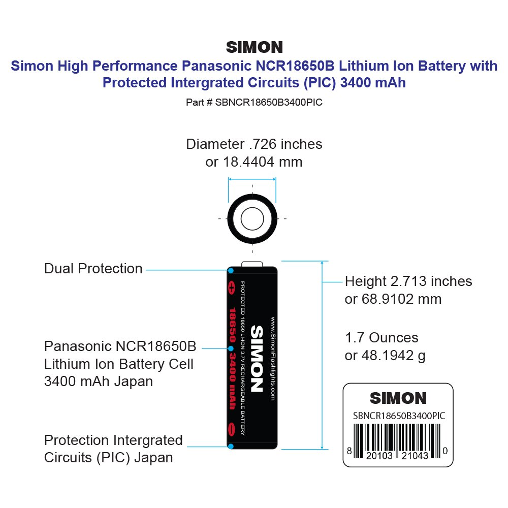 Simon 3400mah Two 18650 Protected Panasonic Rechargeable Quot2400mahquot Liion Batteries W Circuit Battery High Performance 37 Volt Dual Protection For