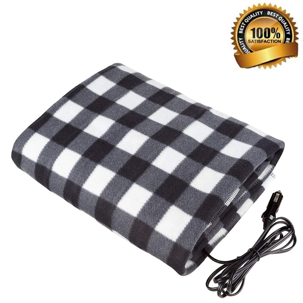 Sweetdecor Car Heated Travel Blanket 12-Volt Heated Travel Blanket Automotive Heated Electric Throw Electric Car Blanket for Cold Weather Tailgating, and Emergency Kits,57'' 40''