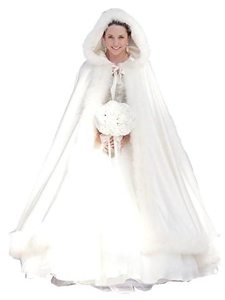 EllieHouse Women\'s Full Length Wedding Hooded Cape Winter Bridal ...