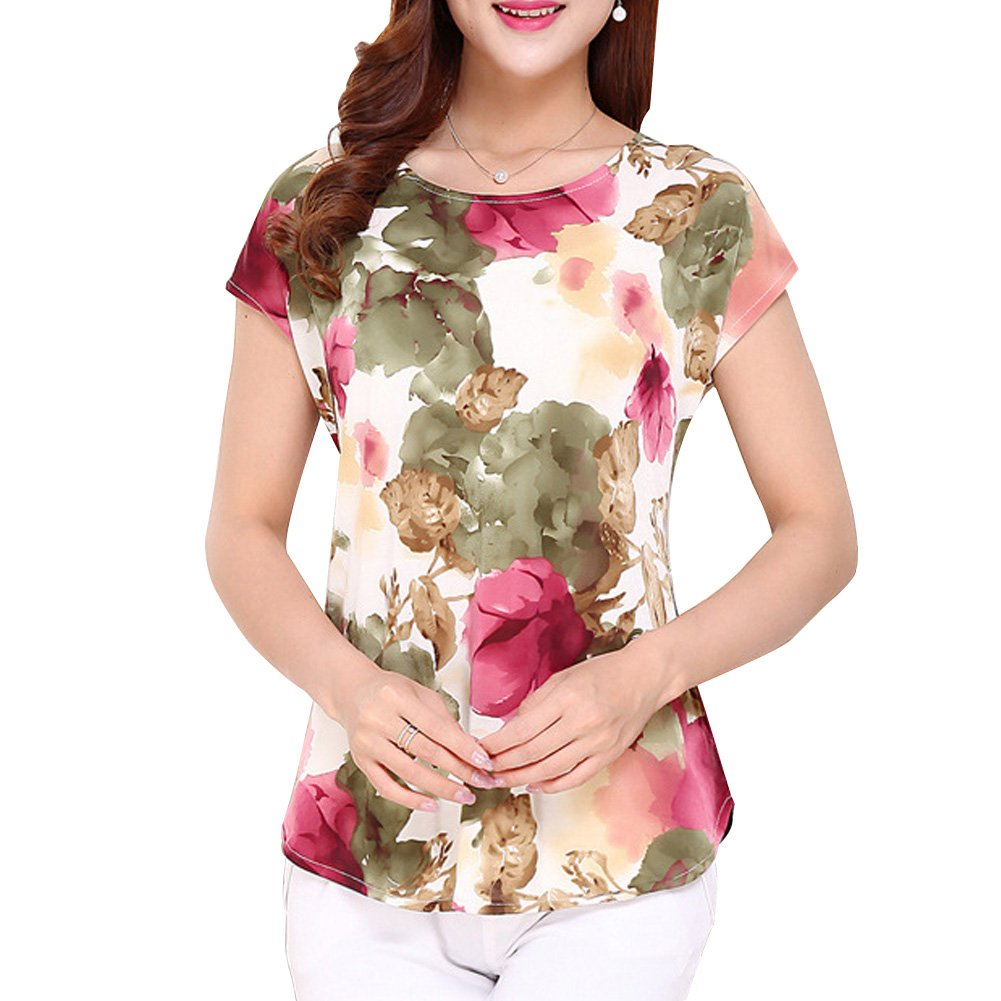 LaoZan Vintage Camisetas Mujer Manga Corta Blusa Camisa Top con Estampado de Flores Suelta y Cómoda