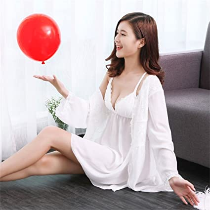 SMC Pijamas para mujer Con Cofre Pad Párrafo Largo Camisón Señoras Sexy Pijamas Modelos Primavera y