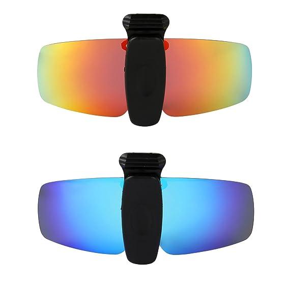 HKUCO Sunglasses Clip Red/24K Gold Polarized Lenses Hat Visors Clip-on Sunglasses For Fishing/Biking/Hiking/Golf UV400 Protect 1KktnQ54