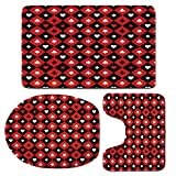 3 Piece Bath Mat Rug Set,Poker-Tournament-Decorations,Bathroom Non-Slip Floor Mat,Card-Suit-Chess-Board-Classic-Checkered-Pattern-Symbols-Decorative,Pedestal Rug + Lid Toilet Cover + Bath Mat,Red-Blac