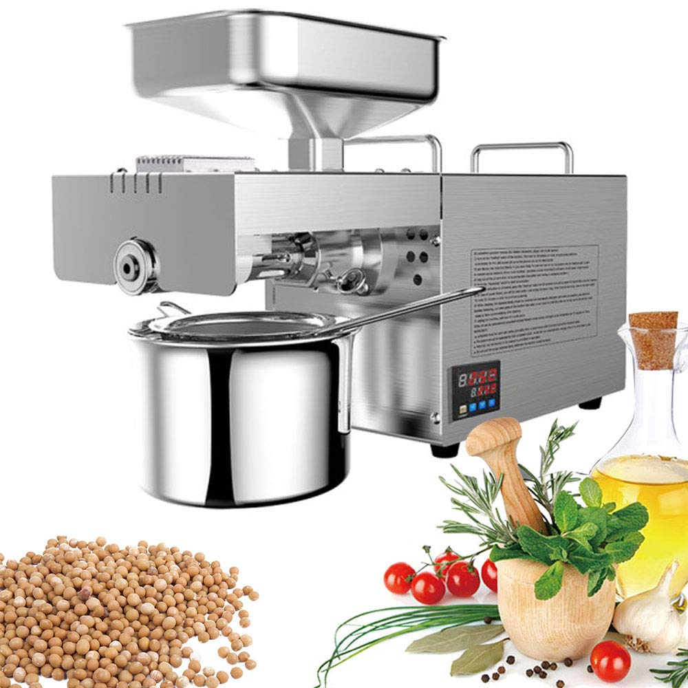 BMGIANT 600W Press Oil Machine Heat Temp Adjustable Hot Cold Oil Extractor Digital Display Automatic Oil Press Machine for Peanut Sesame Coconut Sunflower Canola Flax Seed Presser