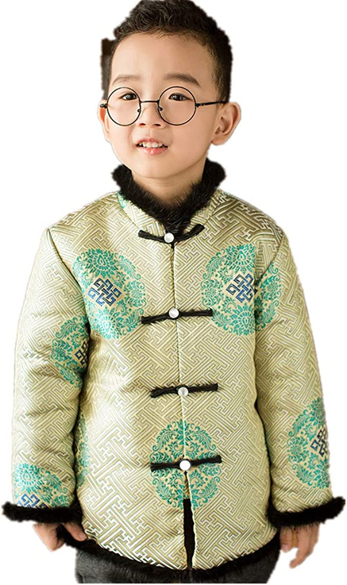Red, 8 to 9 Years Old Boys Traditional Chinese New Years Coat Top Blazer Clothing for Kids Children Costume Tang Jacket LG Height 120-130cm