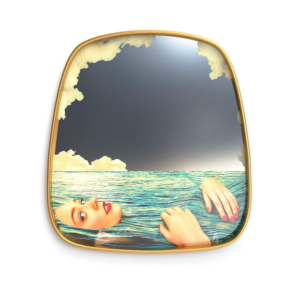 Seletti Toiletpaper Small Mirror Gold Frame Sea Girl Specchio Piccolo con Decoro Ragazza nel Mare