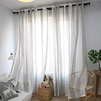 Never-hu Rideaux Voilage à Oeillets Voilage Blanc et Gris Voile Fenêtre  Transparent Voilage en Lin Salon Chambre 100250cm