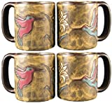 Set Of Four (4) MARA STONEWARE COLLECTION - 16 Oz Coffee / Tea Cup Collectible Mugs - Hummingbirds & Flowers